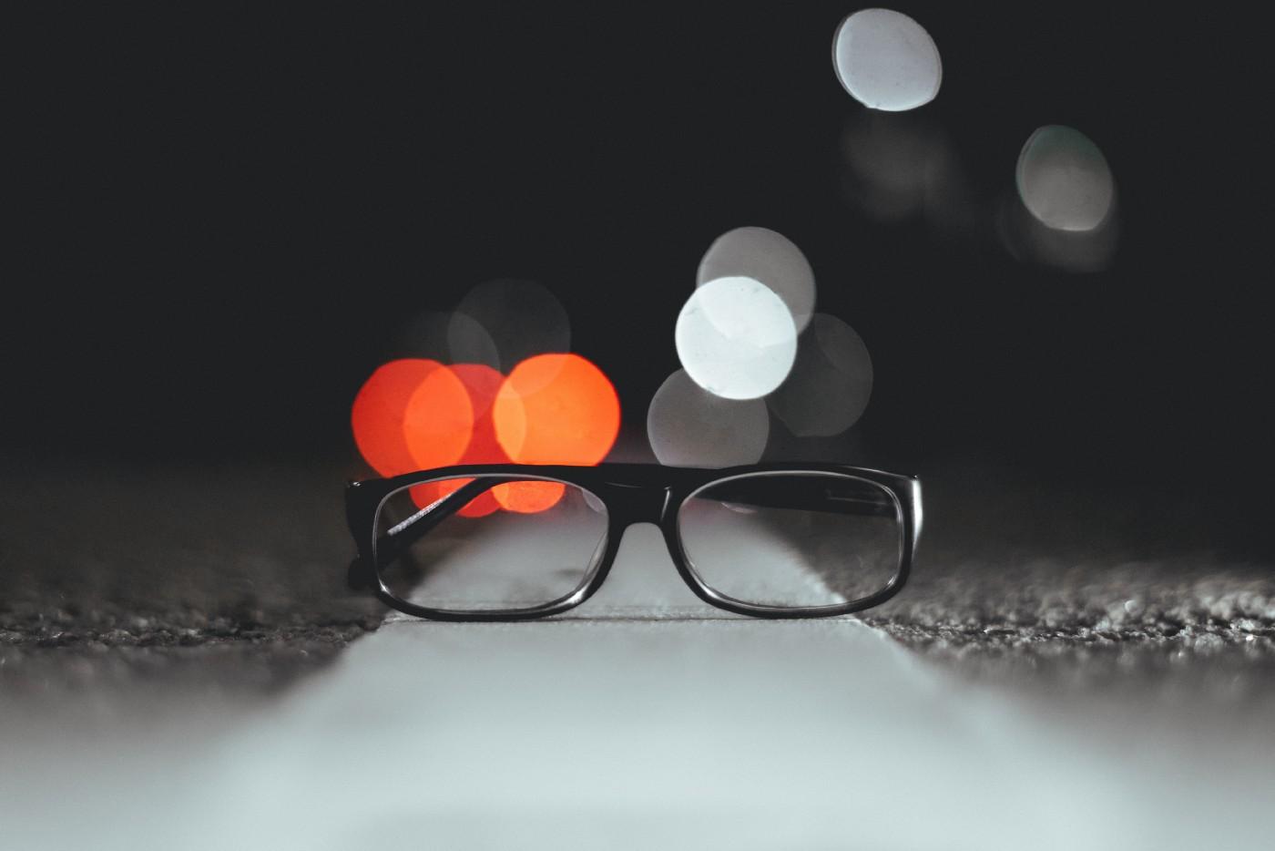 Glasses on road