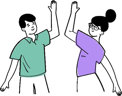 två personer kandidater high five illustration