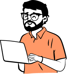 man analyze feedback laptop illustration