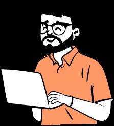 man analys feedback laptop illustration