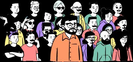grupp kandidater jobb illustration